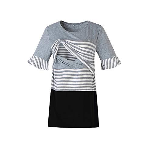 Cuteelf Schwangere Frauen Tops Mode Kurzarm Streifen Nähen Stillen T-Shirt Frauen Schwangere Frauen Kurzarm Streifen Pflege Tops für das Stillen Sommer Mode Kurzarm