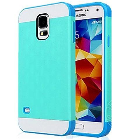 Semoss 2 in 1 Premium Hybrid Bumper Coque Etui Housse Silicone Cover Rigide pour Samsung Galaxy S5 TPU Plastique Hard Bumper Case Bleu