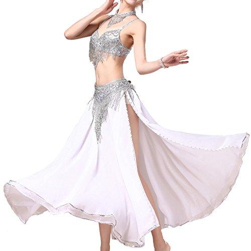 Beaded Bauchtanz Kostüm Bra + Gürtel + Skirt für Frauen mit Pailletten Side Split Dance Kleidung , Weiß , l (Schwarz Contemporary Dance Kostüm)
