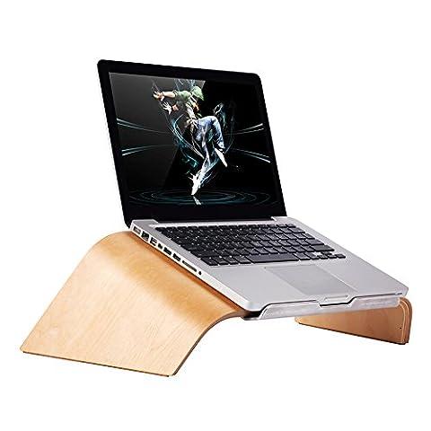 Support pour ordinateur portable, Samdi Tilt Wood support support pour ordinateur portable avec clavier de rangement pour Apple Air Pro Retina 27,9cm/30,5cm/33cm/38,1cm et d'autres PC Ordinateur Portable White Birch