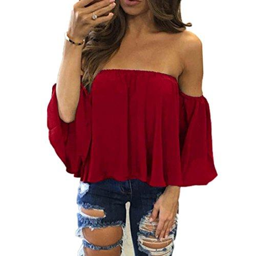 HARRYSTORE Frauen Beiläufige Blusen Lange Hülsen Pullover Weg Vom Schulter T-Shirt Rot
