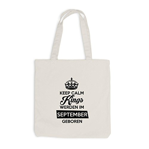 Jutebeutel - Keep Calm Kings werden im September geboren - Birthday Geburtstag Beige
