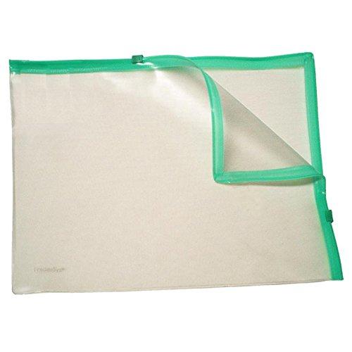 Klarsicht-Sammelbeutel für A4, mit 2 Plastik-Zips, PVC, Zipp grün, 10 Stück