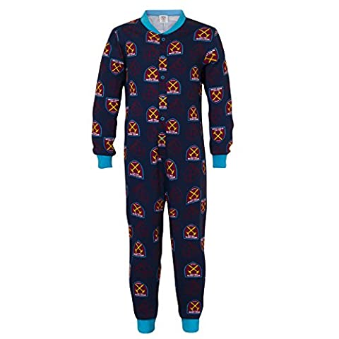 West Ham United FC Official Gift Boys Kids Pyjama All-In-One Navy 9-10 Years