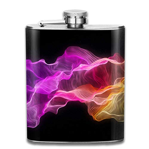 Amazing Abstract Colorful Wave Outdoor Portable 304 Stainless Steel Leak-Proof Alcohol Whiskey Liquor Wine 7OZ Pot Hip Flask Travel Camping Flagon for Man Woman Flask Great Little Gift (Gravierte Gläser Bulk)