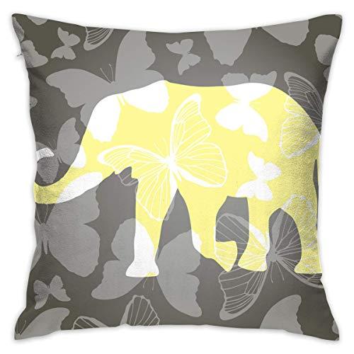 shizh Elefante Amarillo Decoración Cojines Cojines Fundas de Almohadas cuadradas 45x45 cm para sofá Dormitorio Coche con Cremallera Invisible