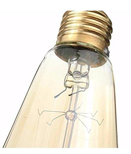 Running Fish 3 Pack E27 60W ST64 Vintage Edison Glühlampe Filament Fadenlampe Edison Lampe Vintage Stil Glühbirne Squirrel Cage Retro Lampe Antike Beleuchtung 220V [Energieklasse A] - 2