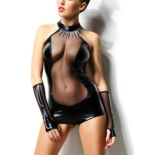 DuuoZy Frauen Sexy Leder Mesh-Bodysuit Dessous Set Nachtclub Tanz-Kostüm , m , black