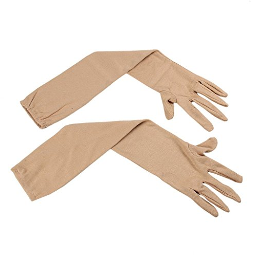 Kuber Industries™ Cotton Gloves, Arm Sleeves Gloves, Sun Protective Full Hand Gloves 1 Pair- Cream (KI01104)  available at amazon for Rs.229