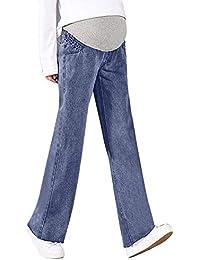 f76c1063cb3b HX fashion Lonshell Locker Gravidanza Pantaloni Comodi Jeans Premaman con  Banda Chic di Jeans Denim Look Dritto Maternity Pants Maternity…