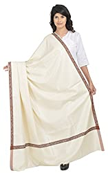 BAISA - Mens Border Dushala/Lohi/Shawl (White. X-Large)