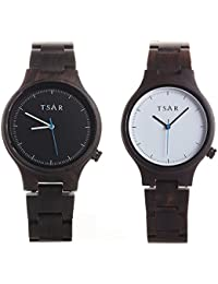 TSAR Wooden Black and White Dial Wood Watch- Couple's Sestina Coal and Snow