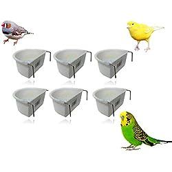 Wundapets - Lot de 6 mangeoires en plastique pour cage d'oiseau - 6,5 cm - En forme de D