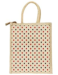 Deshi Decor Unisex Multipurpose Jute Lunch Bag Wth Zip - Polka-Print (Polka Dots, Dimensions:Size, Height= 12, Length= 10, Width= 5 Inches)