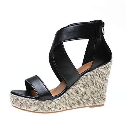 Demonia Fell Stiefel (MakefortuneDamen High Wedge Heel Plateau Sandalen Damen Espadrille Ankle Strap Schuhe Größe 4-7.5)