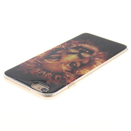 """SsHhUu iPhone 6 Coque, Ultra Slim Doux TPU Silicone Protecteur Painting Art Étui Housse Case Cover Pour Apple iPhone 6 / 6S 4.7"""" Flame Lion"""