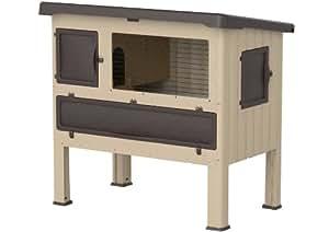 Ferplast Clapier en plastique Grand Lodge 120 classic pour lapins, dimensions 1155x73x110, colori marron