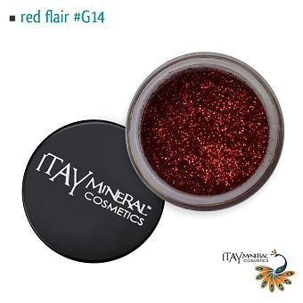 Itay Beaute Mineral Paillette Corps Red Flair G14 + Cala Pinceau Bambou OFFERT
