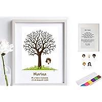 Cuadro de árbol de huellas con niña de comunión. Varios tamaños y colores de marco.Tintas e instrucciones incluidas. Libro de invitados