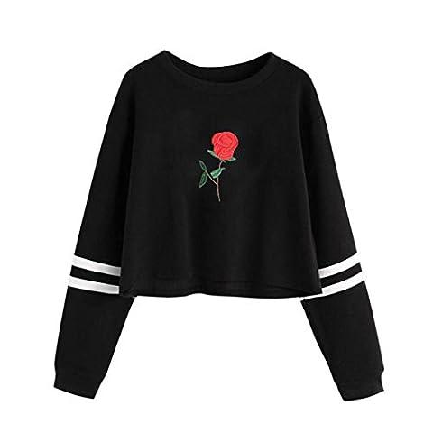 HCFKJ Femmes Cou Rond Broderie Manches Longues Lettre Imprimer Pull Sweatshirt Occasionnel (S, Noir)