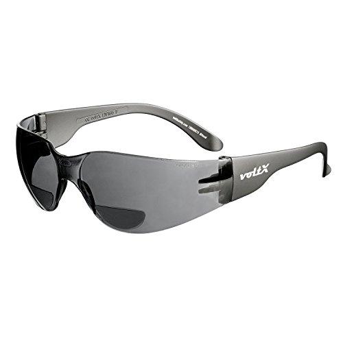 voltX 'Grafter' BIFOKALE (RAUCHGRAU +2.5 Dioptrie) Leichtgewichts Industrie Lesen Schutzbrille, CE EN166F Zertifiziert/Sportbrille für Radler - Safety Reading Glasses