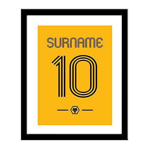 15cd16513d4 Official Personalised Wolverhampton Wanderers/Wolves FC 'Retro Shirt' 13 x  16 Framed Print