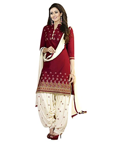Muta Fashions Women's Silk & Georgette Salwar Suit Set (Semi Stitch_Free Size_Red_Suit-366)