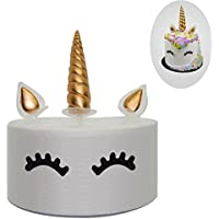 Gold Unicorn Cake Topper Set Included Unicorn Horn, Ears and Eyelash