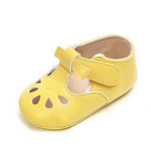 Hellomiko Soft Rubber Bottom Neugeborenen Baby PU Leder Mode ausgehöhlt Blumen Kleinkind Baby Mädchen Schuhe Erste Wanderer für Party (Soft Doll Ballerina)
