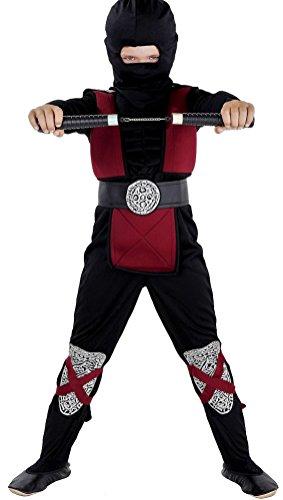 Ninja Kostüm Muskel - Magicoo Deluxe Ninja Kostüm Kinder Burgundrot schwarz mit Muskeln - komplettes Kinder Ninja Kostüm Jungen rot (128/134)