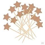 Sharplace 100 Pedazos Topper de Kraft Papel y Madera Figura de Estrella Accesorio de Cupcake de Fiesta de Cumpleaños de Boda para Panadería