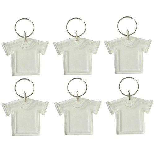 6x transparente Rohlinge Foto Schlüsselanhänger T-Shirt - Acryl-Glas, zum selbst Befüllen Passfoto Bild 3x3cm (6x T-shirt)