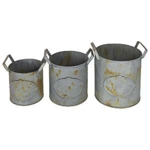 Wunderschöne Set von 3 Vintage Style verzinkt Pflanzer. ideal für Kräuter &Blumen 24 cm, 20,5 cm, 18 cm, Code 22333 Outdoor &Indoor-Einsatz.