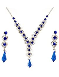Lady Touch American Diamond Gold Plated Chain Necklace Set With Earrings For Girls & Women