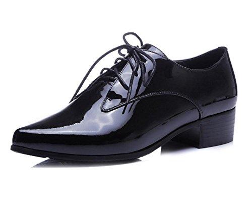 primo strato di scarpe di cuoio delle donne del nuovo scarpe tacco Black