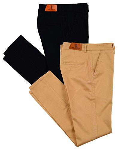 Ben Martin Men's Regular Fit Cotton Trousers (CMB-TRS-BLUE-TRS-KHAKI-30_Combo of 2)