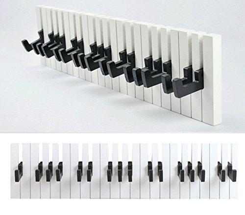 GMMH-Design-Klavier-Wandgarderobe-Kleiderhaken-Hakenleiste-16-Haken-Garderobe-Piano-schwarz-wei