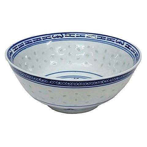 Oriental Bleu/blanc extra large Lot de six Motifs de riz bols de riz Porcelaine MA