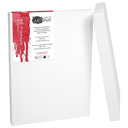Artina 2er Set - 60x80 cm Leinwand aus 100% Baumwolle auf stabilem Keilrahmen in 3D Premium Qualität - 380 g/m²