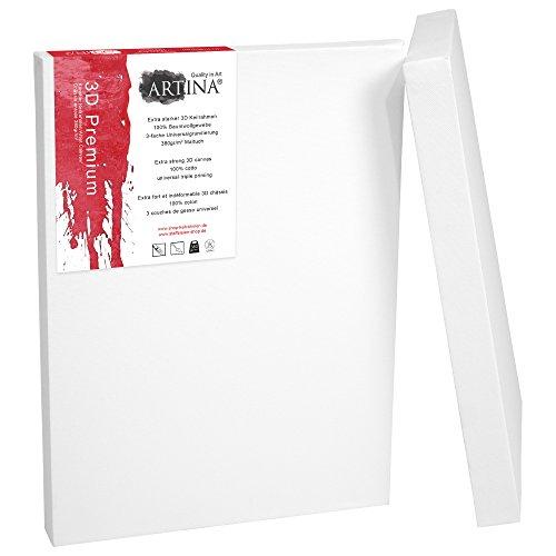 Artina 2er Set - 60x80 cm Leinwand aus 100% Baumwolle auf stabilem Keilrahmen in 3D Premium...