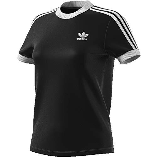 adidas Damen 3-Streifen Trainingsshirt, Black, D 38 -