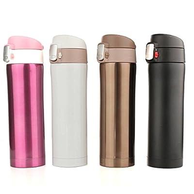 ELEGIANT 450ML Edelstahl Thermosflasche Isolierflasche Thermoskanne Wasserflasche Trinkflasche Stainless Steel Bottle für Winter Outdoor Trinkflashce Camping Trinkflasche oder zu Hause im Büro
