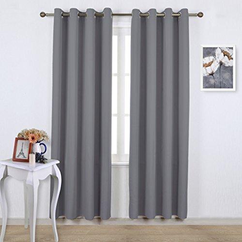 Pony dance tende classiche e drappeggi grigio tende per camera da letto cucina, 132 x 210 cm (larghezza x lunghezza), 2 pannelli