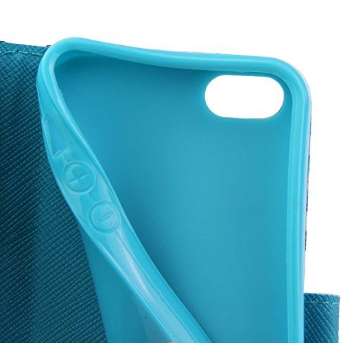 Coque pour iPhone 5C, Etui pour iPhone 5C, ISAKEN Peinture Style PU Cuir Flip Magnétique Portefeuille Etui Housse de Protection Coque Étui Case Cover avec Stand Support pour Apple iPhone 5C (Bouddhism Vague Cerf