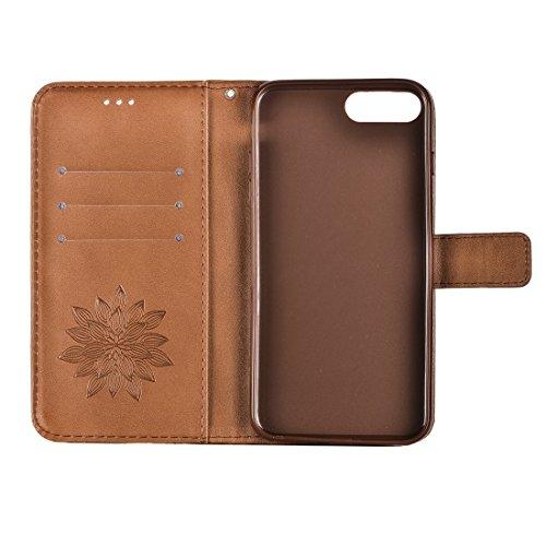 Hülle für iPhone 7 plus , Schutzhülle Für iPhone 7 Plus Crazy Horse Texture Half Flower Printing Horizontale Flip Leder Tasche mit Halter & Card Slots & Wallet & Lanyard ,hülle für iPhone 7 plus , cas Brown