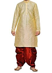 Mens Art Silk Blend Dhoti Kurta Set _Gold