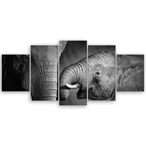 ge Bildet® hochwertiges Leinwandbild XXL - Elefanten - schwarz weiß - 150 x 70 cm mehrteilig (5 teilig)