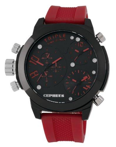CEPHEUS - CP902-624 - Montre Homme - Quartz Analogique - Bracelet Silicone Rouge