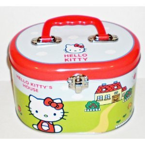 Hello Kitty House Oval Tin Train Case/ Sewing Box by Hello Kitty