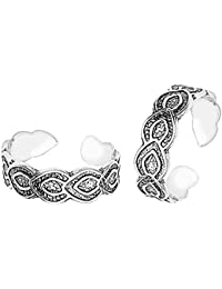 Gandhi Jewellers Sterling Silver Pair Of Beautiful Leaves Design Toe Rings Pair. Toe Rings For Women.